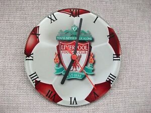 LIVERPOOL FC GLASS WALL CLOCK WITH CREST DESIGN - EXCELLENT CONDITION