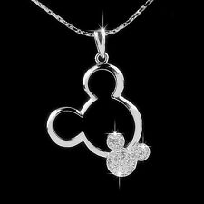 Disney Crystal Mickey Mouse Ears Pendant Necklace 18K White Gold Plated Jewelry