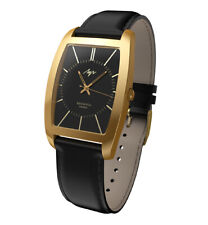 Formal Man's Wristwatch Casual Costume Black Dial Gold plated Rectangle LUCH