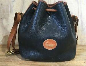 Vintage Dooney & Bourke Black Pebbled Leather Drawstring Bucket Purse Bag