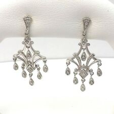 NEW Art Deco Style 10K White Gold Diamond Dangle Chandelier Post Earrings 3.5gr