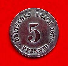 Deutsches Reich    5 Pfennig 1875 G    (J.3)