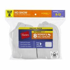 HANES WOMEN'S NO SHOW SOCKS WHITE 8 PACK EXTENDED SHOE SIZE 8-12