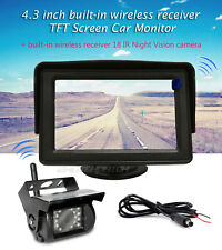 """Wireless Rear View Back up Camera Night Vision System+4.3"""" Monitor for RV Truck"""