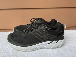 EUC Hoka One One Clifton 6 Black White Men US 12 Running Shoes 1102872 D7