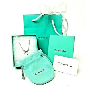 Tiffany & Co. Sterling Silver Bow Pendant Necklace, 16'' in Length, w/ Bag & Box