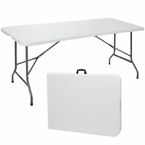 6' Portable Folding Table Plastic Indoor Outdoor Picnic Party Camp Dining White