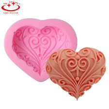 3D Heart Flower Pattern Silicone Fondant Cake Decorating Mold Soap DIY Mould