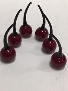 6 Art Glass Stemmed Cherries