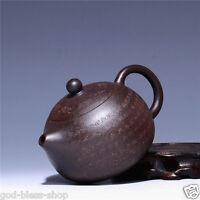 authentic teapot yixing zisha black zhuni handmade carved Sutra xishi pot marked