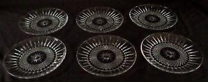 "Cristal D'Arques-Durand - DIAMANT-Clear - 7"" Salad Plate x6 - Arcoroc - USA"