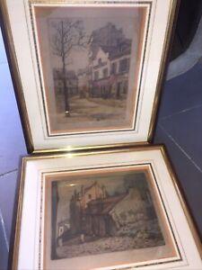 Paul Trélade (dit GEN paul - 1895-1975) paire de gravures signées au crayon