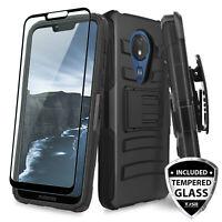 For Motorola Moto G7 Power / G7 Optimo Maxx Rugged Case Holster +Tempered Glass