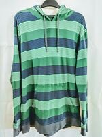 Empyre Pullover Hoodie Mens Striped Green Grey Blue Poly/Cotton Large