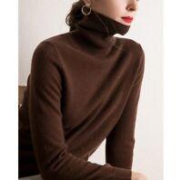 Damen Kaschmir 100% Wolle Sweater Frühling Warm Strick Rollkragen Jumper Dicke