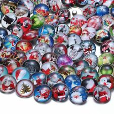 50pcs Mixed Glass Winter Snow Christmas Theme  Ginger Snap Buttons Charms 18mm