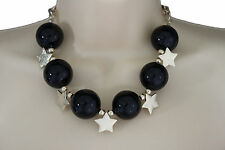 Women Short Fashion Necklace Multi Gold Stars Charm Classic Big Black Ball Beads