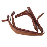Brown PU leather Adjustable Accordion Shoulder Belt Strap Set With Buckles 2Pcs