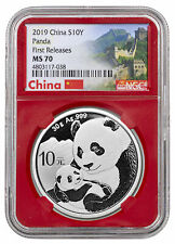 2019 China 30 g Silver Panda ¥10 Coin Ngc Ms70 Fr Red Core Excl Great Wall Label
