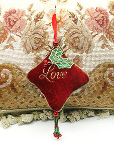 "LOVELY! RED ""LOVE"" PILLOW w/ BEAD TASSEL CHRISTMAS TREE HOLIDAY ORNAMENT"