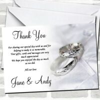 Classy White And Silver Rings Wedding Thank You Cards