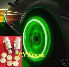 GREEN LIGHT TIRE WHEEL VALVE STEM CAP CAPS LIGHTS LED