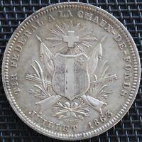 SUISSE 5 FRANCS 1863 CHAUX DE FONDS ARGENT