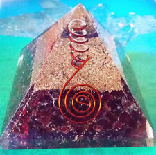 "RARE.LARGE 4"" ORGONE RUBY GARNET CRYSTAL AND COPPER  ENERGY GENERATOR  PYRAMID"