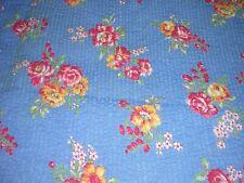 "684J Vintage 27""Wide COTTON PLISSE SEERSUCKER Fabric BLUE w RED ROSES 1Y31""L OLD"