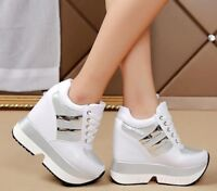 Women Autumn Sequins Platform Creepers Wedge Heels High Sneakers Shoes Boos