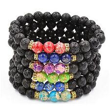 Natural lava rock jasper stone black antique gold spacers bead bracelet