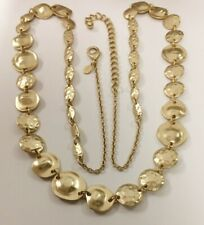 NEW CHICO'S BRUSHED GOLD HAMMERED MEDALLION DISC BOHO LONG CHAIN NECKLACE V224