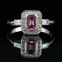 ANTIQUE ART DECO PINK SAPPHIRE DIAMOND RING 18CT WHITE GOLD