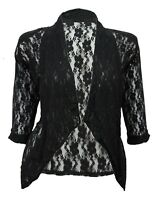 Womens New Soft Black Lace 3/4 Sleeve Bolero Jacket Sizes 16 To 26 Party Casual