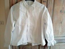 Ancien chemisier festonné et brodé,chemise manches longues
