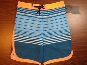 Hurley Boys Board Shorts - Light/Dark Blue Striped with Orange Trim 0243