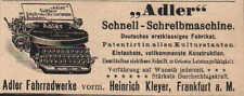 FRANKFURT/M., Werbung / Anzeige 1902, Adler-Fahrradwerke Schnell-Schreibmaschine