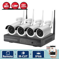4CH WIFI 4x960P CCTV NVR Kit Network HD IP Système de Caméra Surveillance IP66