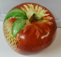 Vintage Czechoslovakia Apple Cookie Jar..Natural Colors outside, smooth china in