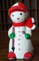 Vtg Snowman Bell Red Flocked Figural Bisque Porcelain Christmas Skier