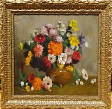 Fine 19th Century Belgian Impressionist Still Life Flowers Antique Oil Painting