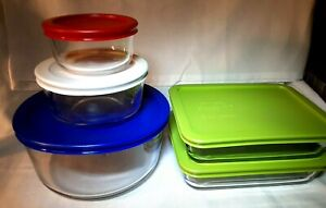 Pyrex 10 Piece Clear Glass Food Storage Containers with Pyrex Lids 1cup to 7cup