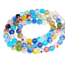 G493 Millefiori Assorted Color Mixed 6mm Round Glass Beads 15""