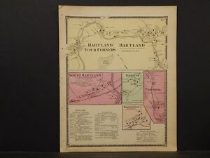 Vermont Windsor County Map, Hartland, Plymouth 1869  Y2#89