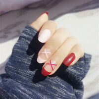 24pcs Red Pink Stripe Short Oval False Nails Nail Tips Nail Art Full Cover