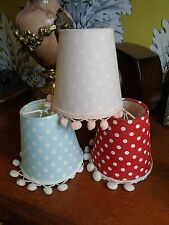 SET 3 SPOTTY LAMP SHADES CLIP ON RED, PINK AND BLUE AND ONE FREE CHECKED