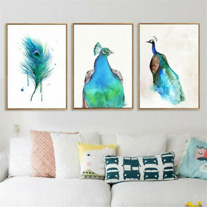 Blue Peacock Canvas Poster Watercolor Painting Art Print Modern Home Wall Decor