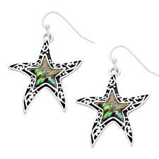 Starfish Fashionable Earrings - Wavy Filigree - Fish Hook - Abalone Paua Shell