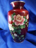 Vtg JAPANESE YAMAMOTO PIGEON BLOOD Red Ginbari Foil Cloisonne Rose bird Vase (A)