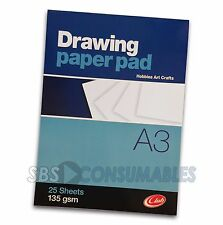 Club Drawing Paper Pad - A4 or A3 - 25 Sheets. 135gsm Heavy Paper. Sketch Book